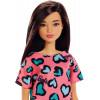 Лялька Барбі Стиль Брюнетка в рожевій сукні Barbie Doll, Brunette Pink and Blue Heart-Print Dress