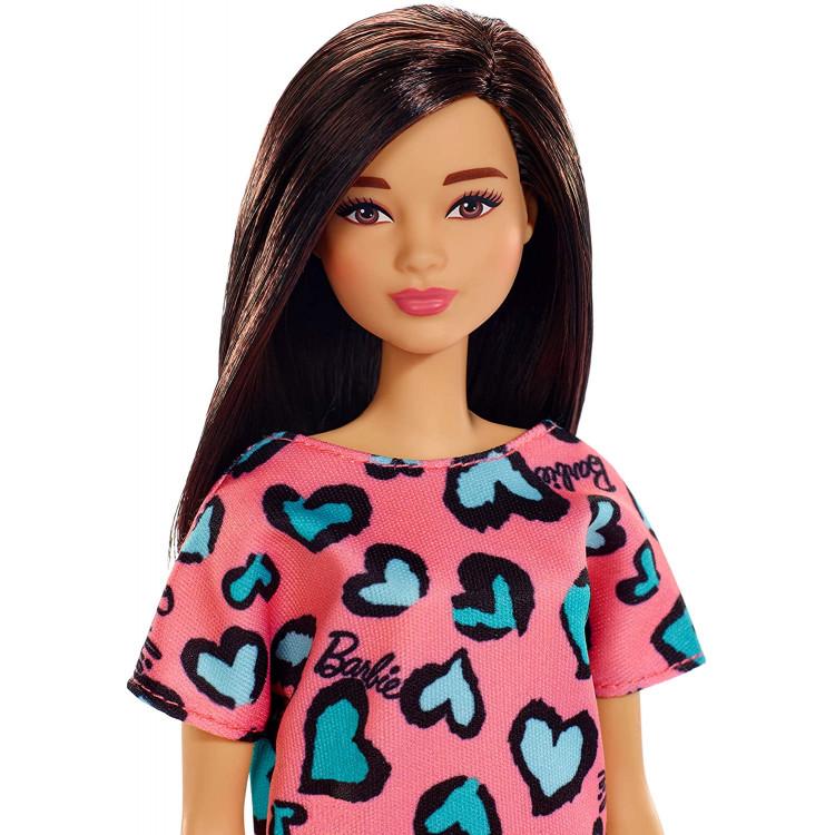 Кукла Барби Стиль Брюнетка в розовом платье Barbie Doll, Brunette Pink and Blue Heart-Print Dress