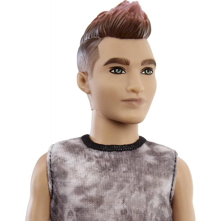 Кукла Кен Модник Barbie Ken Fashionistas Doll with Sculpted Brunette Ombre-Tipped Hair Wearing a Sleeveless Tie-dye Shirt 176