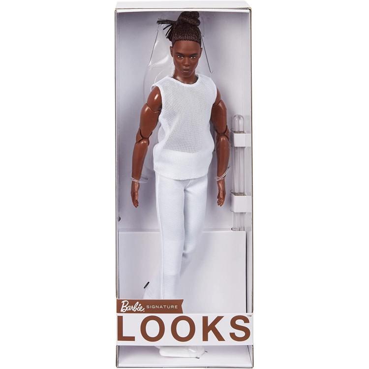 Кукла Барби Кен коллекционный брюнет Barbie Signature Looks Ken Doll, Brunette with Braids