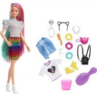 Кукла Барби Радужно-леопардовые волосы Barbie Leopard Rainbow Hair Doll, Blonde