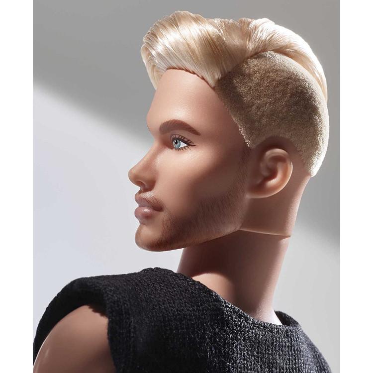 Лялька Барбі Кен колекційний Блондин Barbie Signature Looks Ken Doll, Blonde with Facial Hair #5