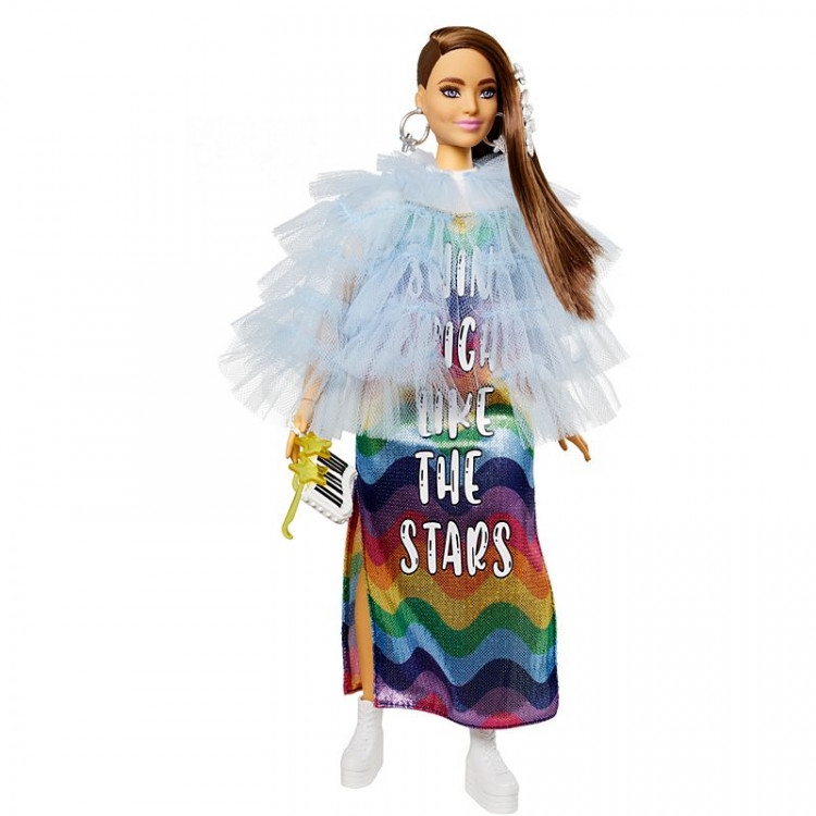 Лялька Барбі Екстра Модниця в блакитному жакеті з оборками Barbie Extra Doll #9 in Blue Ruffled Jacket with Pet Crocodile