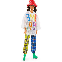 Кукла Барби Barbie BMR1959 Fully Poseable Fashion Doll Mesh T-Shirt, Plaid Joggers and Bucket Hat