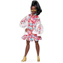 Кукла Барби Barbie BMR 1959 Fully Poseable Curvy Fashion Doll, Clear Vinyl Bomber Jacket & Floral Hoodie Dress