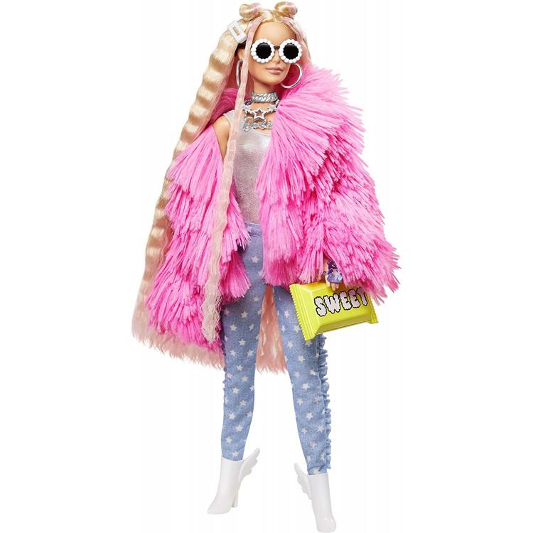 Лялька Барбі Екстра Модниця у рожевому пальто Barbie Extra Doll #3 in Pink Fluffy Coat with Pet Unicorn-Pig