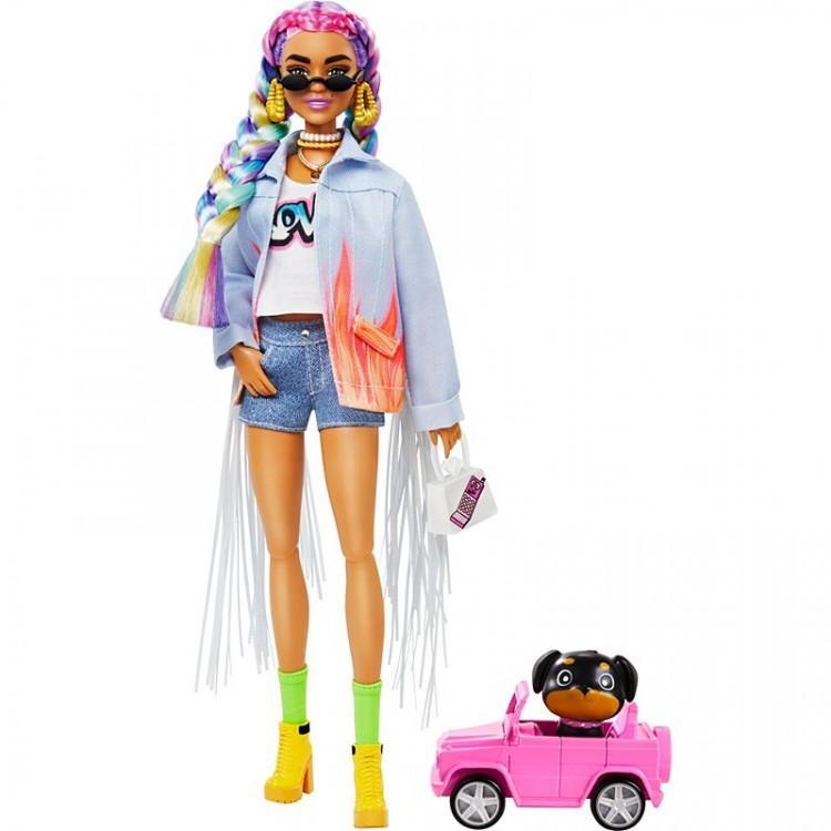 Лялька Барбі Екстра Модниця в джинсовій куртці з бахромою Barbie Extra Doll #5 in Long-Fringe Denim Jacket with Pet Puppy