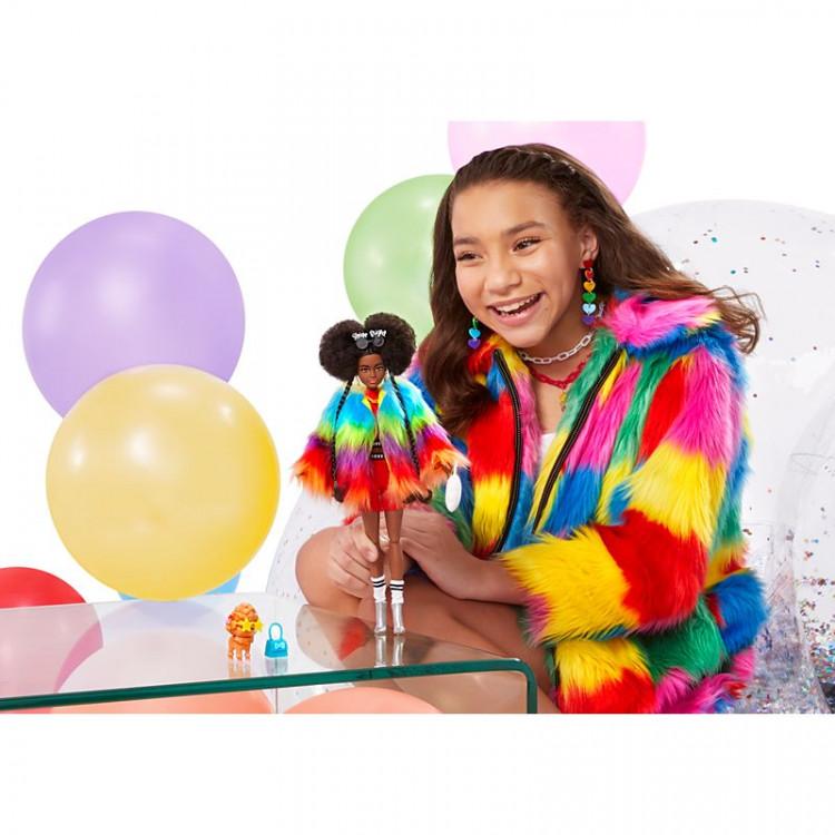 Кукла Барби Экстра Модница в радужном пальто Barbie Extra Doll #1 in Rainbow Coat with Pet Poodle