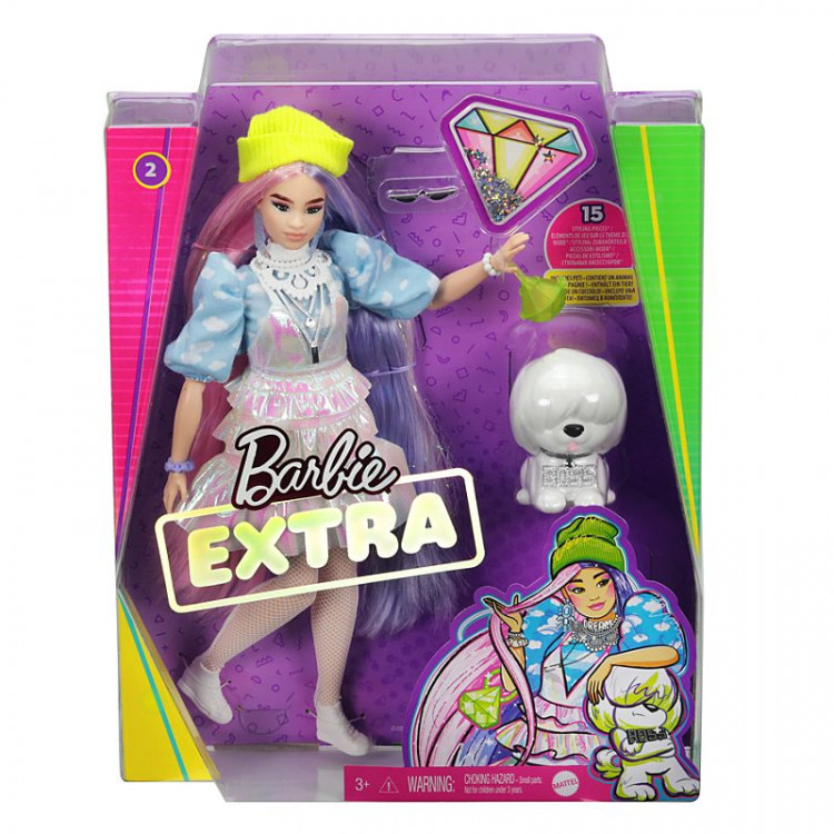 Кукла Барби Экстра Модница Мерцающий образ Barbie Extra Doll #2 in Shimmery Look with Pet Puppy