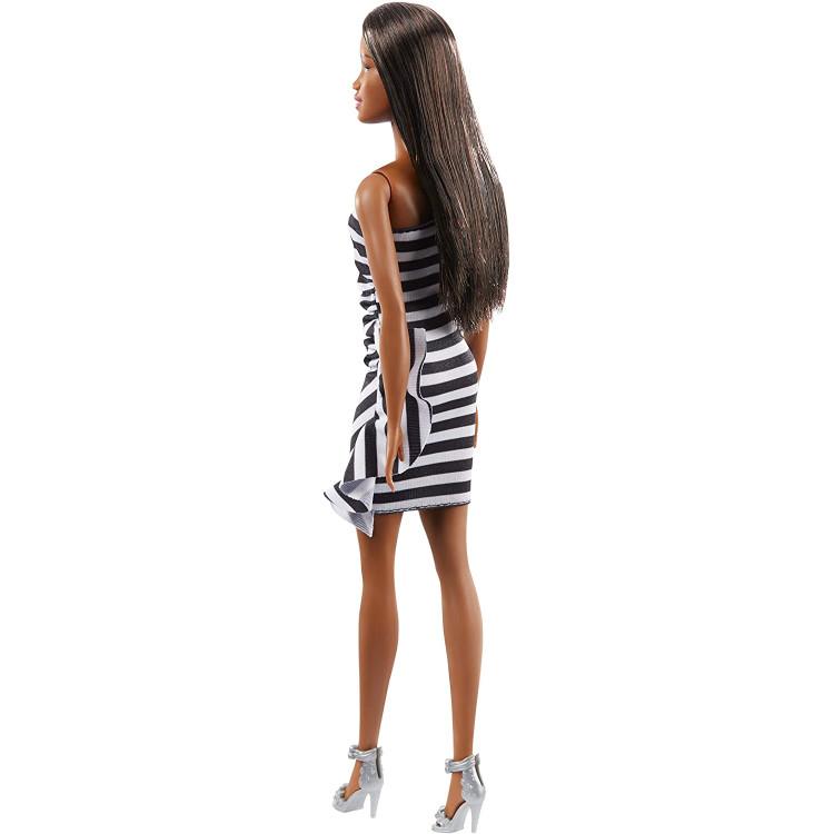 Кукла Барби Брюнетка Черно-белое платье Barbie 60th Anniversary Black & White Dress Brunette Doll