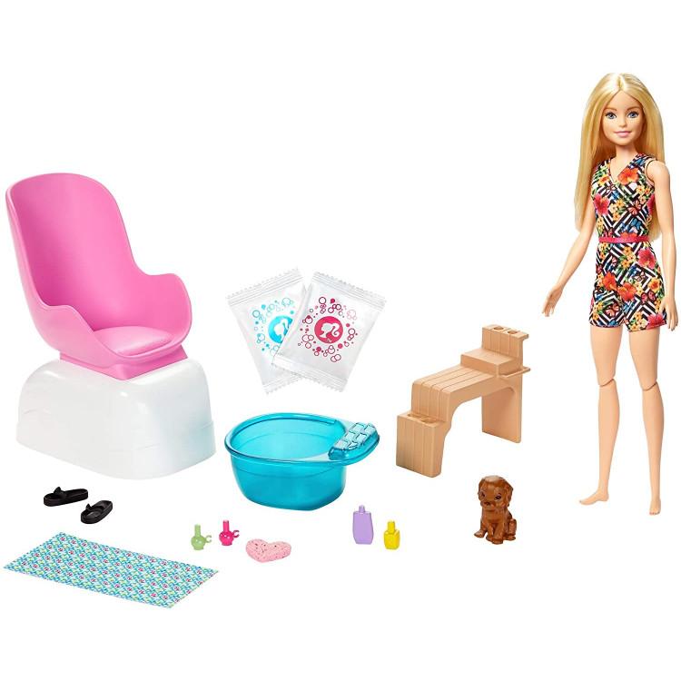 Ігровий набір Лялька Барбі Манікюрний салон Barbie Mani-Pedi Spa Playset with Blonde Doll & Puppy