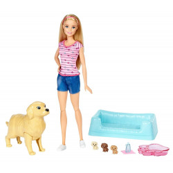 Кукла Барби и собака с новорожденными щенками Barbie Newborn Pups Doll & Pets Playset, Blonde