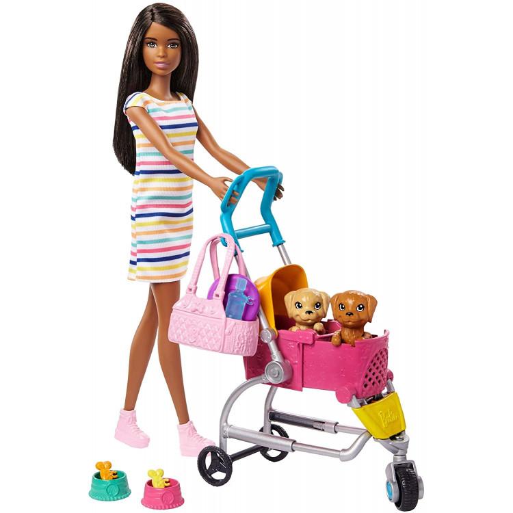 Лялька Барбі Прогулянка з цуценятами Barbie Stroll 'n Play Pups Playset with Brunette Doll