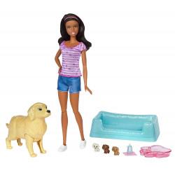 Кукла Барби и собака с новорожденными щенками Barbie Newborn Pups Doll & Pets Playset, Brunette
