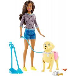 Кукла Барби с собакой на прогулке Barbie Walk & Potty Pup Playset, Brunette