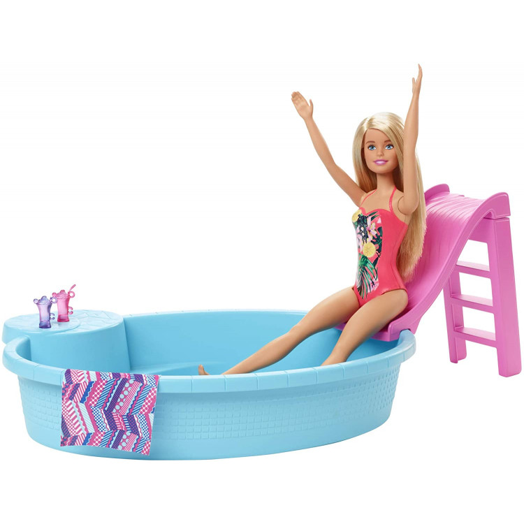 Ігровий набір Лялька Барбі з басейном Barbie Doll and Pool Playset with Slide, Blonde
