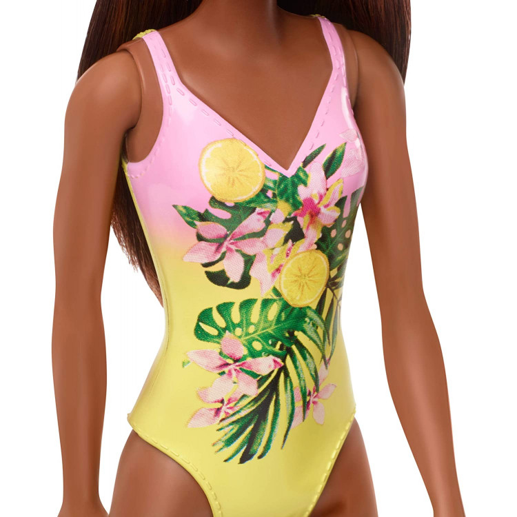 Лялька Барбі в купальнику темношкіра Шатенка Barbie Wearing Swimsuit Doll, Brunette