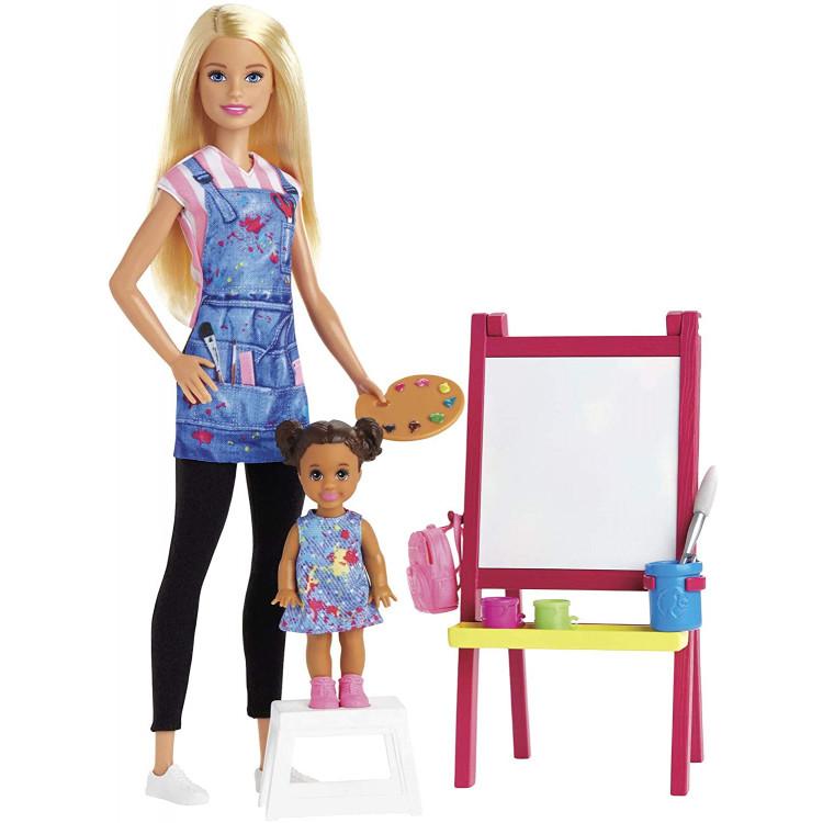 Лялька Барбі вчитель малювання Я можу бути Barbie Art Teacher Playset with Blonde Doll