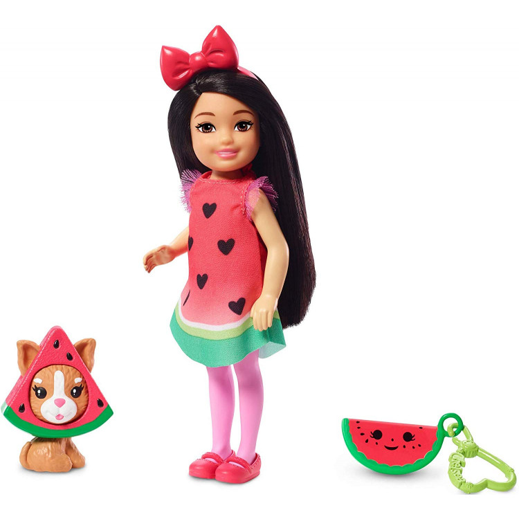 Лялька Барбі Челсі у костюмі кавуна Barbie Club Chelsea Dress-Up Doll in Watermelon Costume