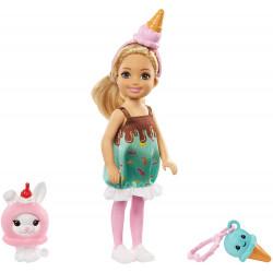 Кукла Барби Челси в костюме мороженого Barbie Club Chelsea Dress-Up Doll in Ice Cream Costume