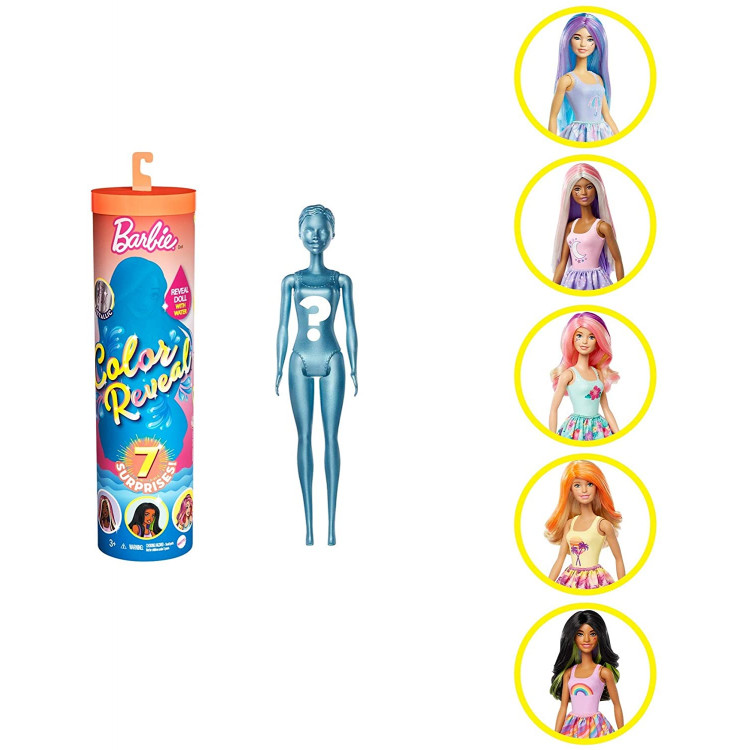 Лялька Барбі Сюрприз Кольорове перевтілення Barbie Color Reveal Sunny 'n Cool Series Doll with 7 Surprises Including Scented Wig