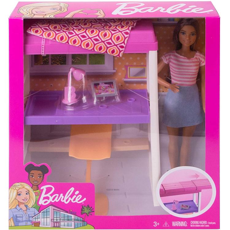 Ігровий набір меблів Лялька Барбі і Ліжко горище Barbie Doll and Furniture Set, Loft Bed with Transforming Bunk Beds