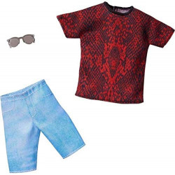 Одежда для куклы Кена Барби Barbie Ken Red & Black Tee, Denim Shorts & Sunglasses Fashion Pack