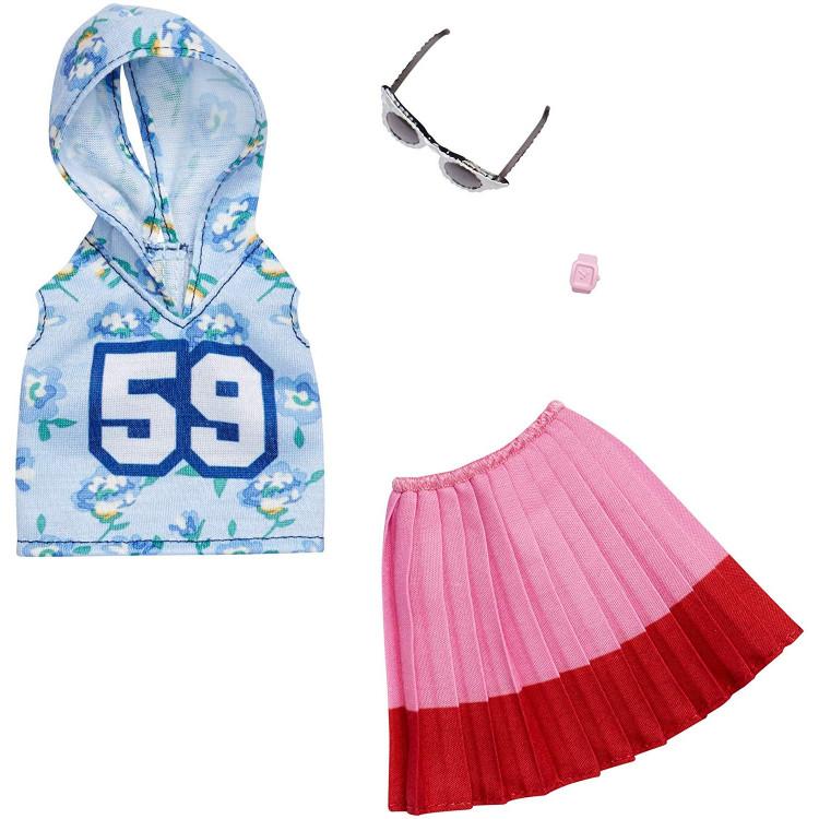 Барбі Одяг Barbie Fashion Blue Hoody 59, Pink Skirt and Glasses