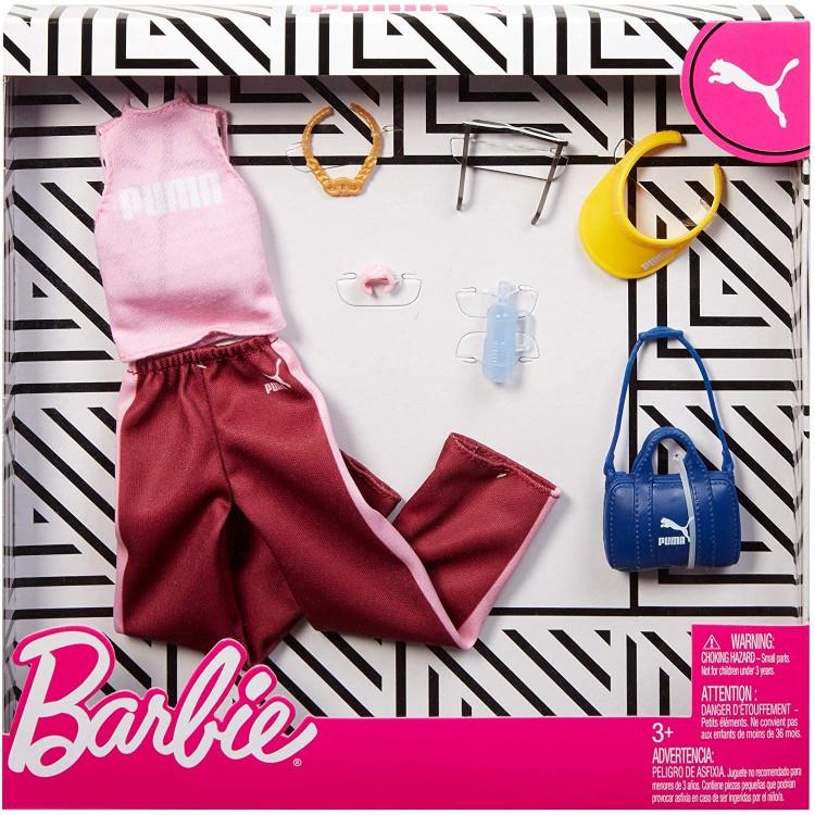 Барбі Одяг Barbie PUMA Fashion Pack Pink Top, Burgundy Pants & 6 Accessories Dolls