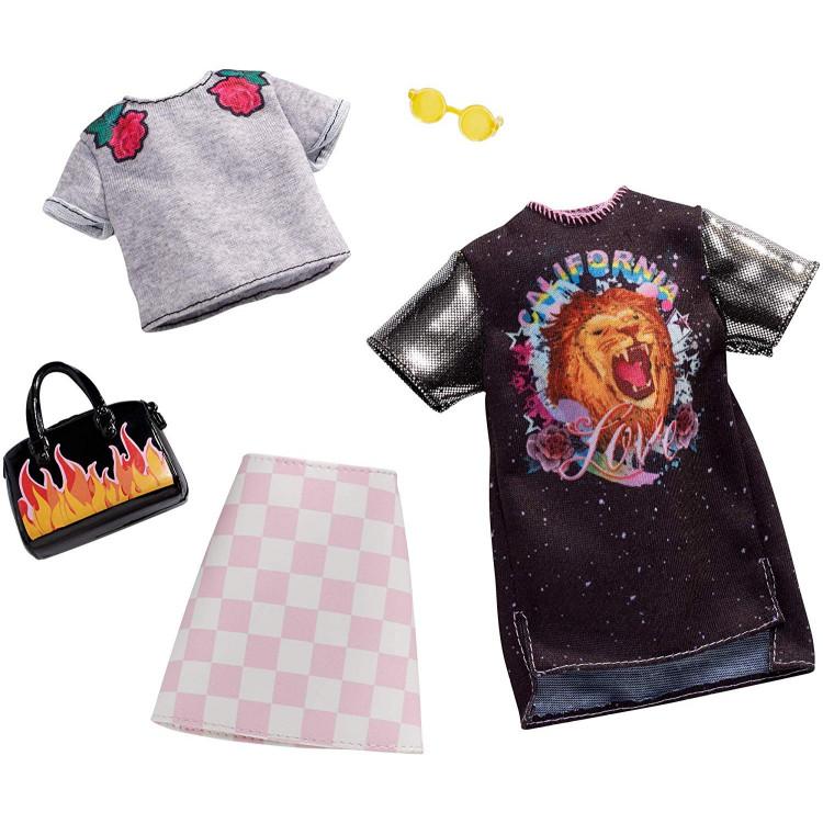 Барбі Одяг Barbie Checkered Rockband Tee Fashion, 2 Pack