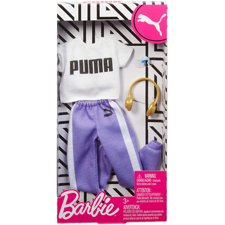 Барбі Одяг Barbie PUMA White Top & Jogging Purple Pants Fashion Pack