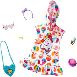 Одежда для кукол Барби Barbie Storytelling Fashion Pack Inspired by Minions Hoodie Dress & 6 Accessories