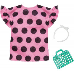 Одежда для кукол Барби Barbie Pink Poka Dot Shirt Dress Fashion Pack