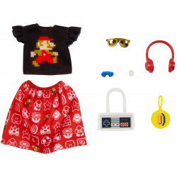Одежда для кукол Барби Barbie Storytelling Fashion Pack of Doll Clothes Super Mario: Graphic Top, Print Skirt