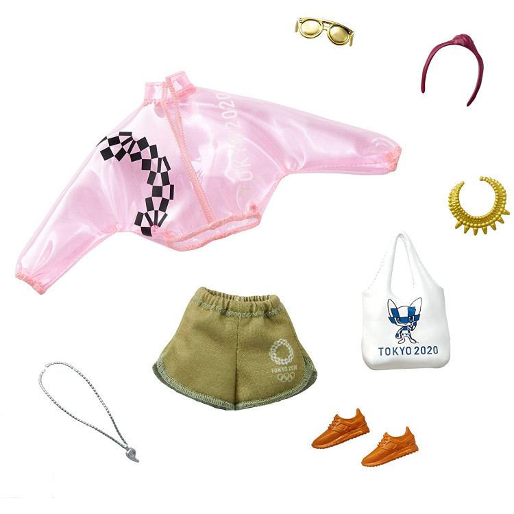 Одежда для кукол Барби Barbie Fashion Pack The Olympic Games Tokyo 2020: Pink Transparent Jacket, Shorts