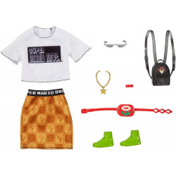 Одежда для кукол Барби Barbie Storytelling Fashion Pack of Doll Clothes Super Mario: Graphic Tee, Patterned Skirt