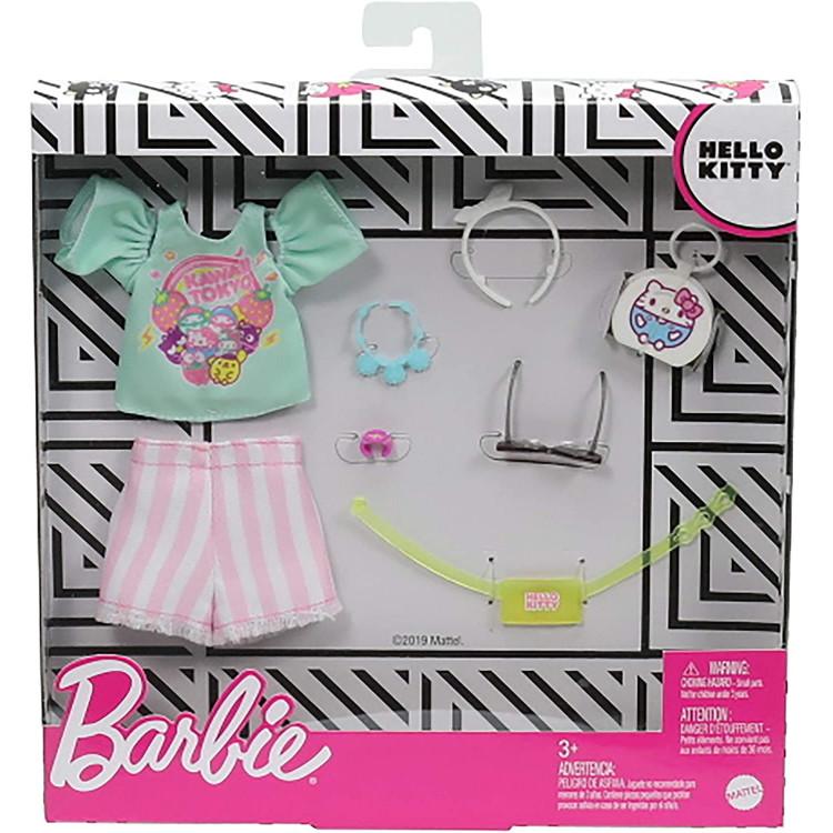 Одежда для кукол Барби Barbie Fashion Pack of Doll Clothes Hello Kitty: Aqua Kawaii Tokyo Top, Striped Shorts