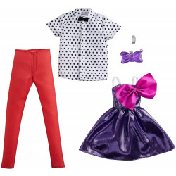 Одежда для кукол Барби и Кена Barbie Fashion 2-Pack, Purple Party Dress with Bow & Polka Dot Tie, Red Pants