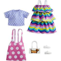 Одежда для кукол Барби Barbie Fashions 2 Pack Clothing Set, Include Pink Polka-Dot Jumper, Purple Polka-Dot Top, Striped Dress