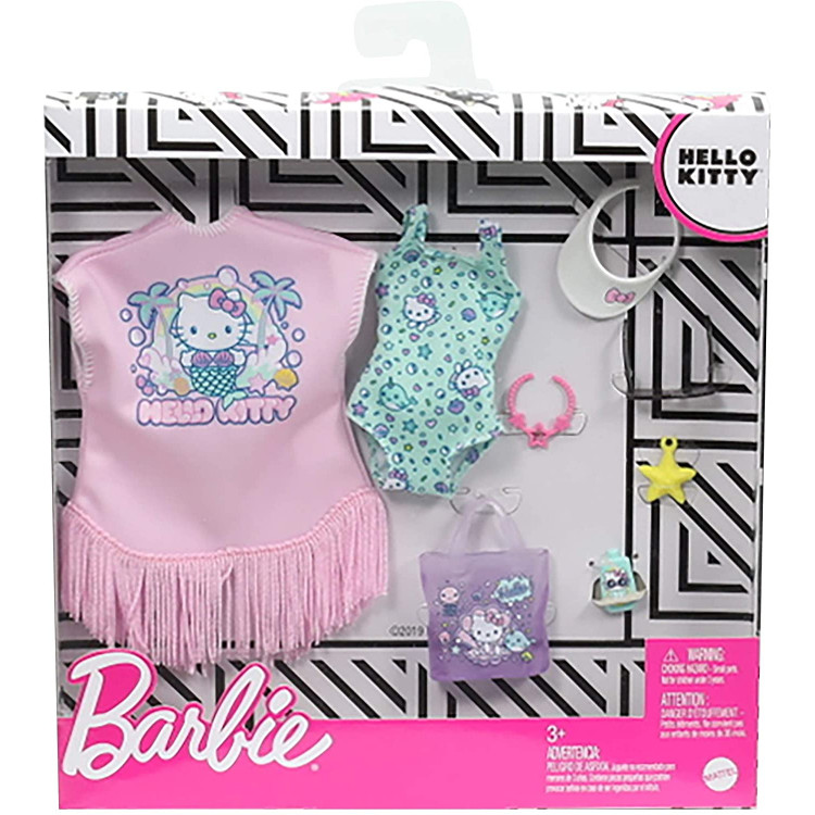 Одежда для кукол Барби Barbie Fashion Pack of Doll Clothes Hello Kitty: Swimsuit, Fringed Cover-up Beach-Themed