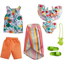 Одежда для кукол Барби и Кена Barbie Fashion 2-Pack, Tropical Swimsuit, Striped Skirt & Tank Top, Orange Shorts