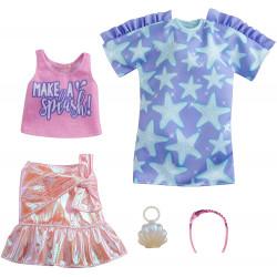 Одежда для кукол Барби Barbie Fashions 2 Pack Clothing Set, Include Star-Print Dress, Pink Iridescent Skirt, Graphic Tank