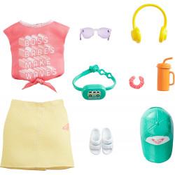 Одежда для кукол Барби Barbie Storytelling Fashion Pack Inspired by Roxy Pink Graffit Tee & Yellow Mini Skirt
