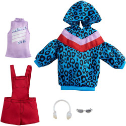 Одежда для кукол Барби Barbie Fashions 2 Pack Clothing Set, Include Animal-Print Hoodie Dress, Graphic Top, Red Overalls