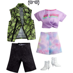 Одежда для кукол Барби и Кена Barbie Fashion 2-Pack, Purple T-shirt, Snake Skin Shirt & Green Vest, Tie Dye Shorts