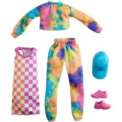 Одежда для кукол Барби Barbie Fashions 2 Pack Clothing Set, Include Tie-Dye Joggers & Sweatshirt, Checked Dress
