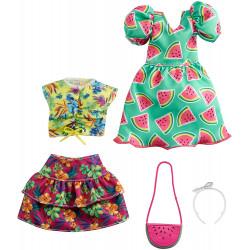 Одежда для кукол Барби Barbie Fashions 2 Pack Clothing Set, Include Watermelon-Print Dress, Floral Skirt, Tropical Tank