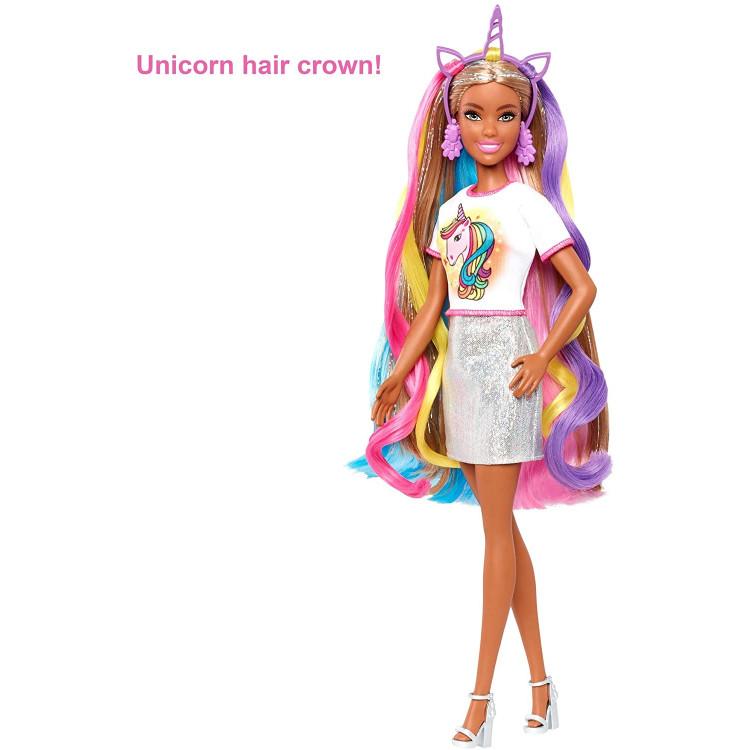 Кукла Барби Фантазия волос Русалка и Единорог Barbie Fantasy Hair Doll with Mermaid & Unicorn Looks, Brunette