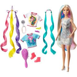 Уценка !!! Кукла Барби Фантазия волос Русалка и Единорог Barbie Fantasy Hair Doll with Mermaid & Unicorn Looks, Blonde *