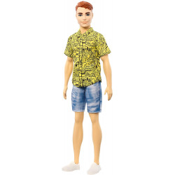Лялька Кен Моднік Ken Fashionistas Doll with Red Hair and Graphic Yellow Shirt 139